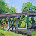 Harrison Park Bridge-ellijay River - Sun Peeking Under by Jan Dappen