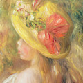 Head Of A Girl With A Hat, 1893  by Pierre Auguste Renoir