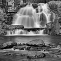 Hickory Run Pocono Waterfall Black And White by Adam Jewell