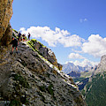 Hikers On Steep Trail Up Monte Piana by Steve Estvanik