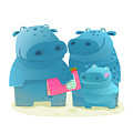 Hippo Family Mother Father And Kid With by Popmarleo