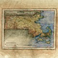 Historical Map Hand Painted Massachussets by Lisa Middleton