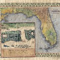 Historical Map Hand Painted St. Augustine by Lisa Middleton