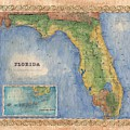 Historical Map Hand Painted Vintage Florida Colton by Lisa Middleton