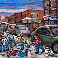 Hockey Art Pointe St Charles Street Scene Chic Regal Machiavelli Charlevoix Pizza C Spandau Artist   by Carole Spandau