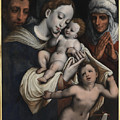 Holy Family With Elisabeth And John The Baptist  by Cornelius Van Cleve