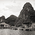 Homes On Ha Long Bay Boat People  by Chuck Kuhn