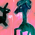 Horse And Rabbit On Pink by Artist Dot