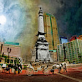 Horses And Buggies And Soldiers And Sailors Monument, Indianapolis by Blake Richards