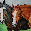 Horses In Oil Paint by Maria Reichert