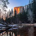 Frozen Horsetail Falls Ablaze by Harriet Feagin