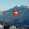 Hot Air Balloons Swiss Alps by Stevenallan