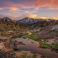 Hot Creek Overlook Sunset  by Michael Ver Sprill