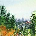 House In The Hills Fall Landscape  by Irina Sztukowski