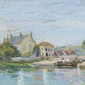 Houses On The Bank Of Ecluse At The Gazonne by Alfred Sisley