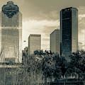 Houston Cityscape View Along The Buffalo Bayou In Sepia by Gregory Ballos