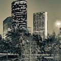 Houston Skyscrapers Along The Buffalo Bayou - Sepia Edition by Gregory Ballos
