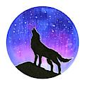 Howling Wolf Silhouette Galaxy by Olga Shvartsur