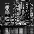 Hudson Yards Nyc And Full Moon Bw by Susan Candelario