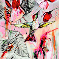Hummingbird Abstract Modern Bird Art by Ginette Callaway
