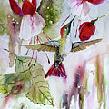 Hummingbird And Flowers by Ginette Callaway