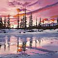 Iced Lake At Sunset by David Lloyd Glover