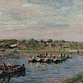 Idle Barges On The Loing Canal At Saint-mammes by Alfred Sisley