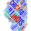 Illinois State Word Art Map With Cities by Peggy Collins