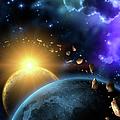 Illustration Of The Earth, Moon, Sun by Kalistratova