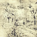 In The Fields At Ennery, 1875 by Camille Pissarro