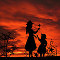 In The Garden Mother And Daughter Sunset Silhouette Series   by David Dehner