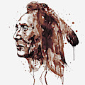 Indian Warrior Sepia Tones by Marian Voicu