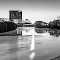 Indianapolis Black And White Skyline Panorama Over The White River by Gregory Ballos