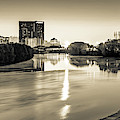 Indianapolis Sepia Skyline Panorama Over The White River by Gregory Ballos