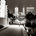 Indianapolis Skyline Along The Canal Walk - Sepia Square by Gregory Ballos