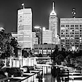 Indianapolis Skyline Lights - Monochrome Edition by Gregory Ballos