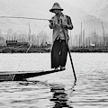 Inle Lake Fisherman Bw3 by Mache Del Campo