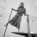 Inle Lake Fisherman Byw by Mache Del Campo