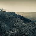 Inspiration Point Sunset - Ozark Mountain Autumn Overlook In Sepia by Gregory Ballos