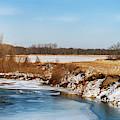 Iowa Farmland And River by Edward Peterson