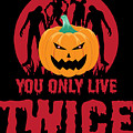 Jackolantern Scary Ghost Zombie Pumpkin Halloween Dark by Nikita Goel
