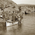 Japanese  Abalone  Dive Boat Columbia With A Hardhat Diver At Point Lobos by California Views Archives Mr Pat Hathaway Archives