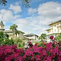 Jekyll Island Club Hotel And Pink Azaleas by Bruce Gourley