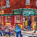 J'm La Frite Restaurant Verdun Montreal Hockey Art Boys Of Gertrude And Strathmore C Spandau Artist  by Carole Spandau