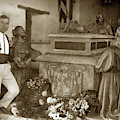 Jo Mora With The Father Serra Memorial Centotaph At Carmel Missi by California Views Archives Mr Pat Hathaway Archives