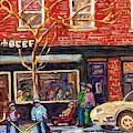 Joe Beef Resto St Henri Winter Street Scene Painting For Sale C Spandau Hockey Artist Rue Notre Dame by Carole Spandau