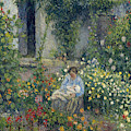 Julie And Ludovic-rodolphe Pissarro Among The Flowers, 1879 by Camille Pissarro