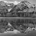 Kananaskis Mountain Reflections Black And White by Adam Jewell
