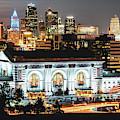 Kansas City Missouri Night Skyline Over Union Station by Gregory Ballos