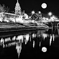 Kansas City Plaza Lights Under Full Moon Light - Monochrome by Gregory Ballos